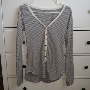 Lululemon Gray/White Henley Shirt-Size 6